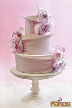 The Ever-So-Trendy Fondant Rose Petal Covered Cake Is Brilliantly Executed Here With This Simple Yet Stunning Cake. Lilac Wedding Cake - Cake by Nasa Mala Zavrzlama Hand painted wedding cake with wafer paper flowers Airbrushed ribbon and roses. Elegant Wedding Cakes, Elegant Cakes, Beautiful Wedding Cakes, Gorgeous Cakes, Wedding Cake Designs, Pretty Cakes, Amazing Cakes, Trendy Wedding, Unusual Wedding Cakes
