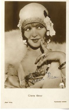 Clara Bow signed postcard