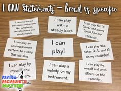 You can use different I CAN statements at different grade levels or for different situations.