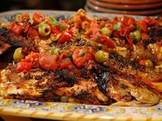 Whole Snapper with Grilled Vera Cruz Salsa Recipe : Bobby Flay : Food Network… Grilling Recipes, Fish Recipes, Seafood Recipes, Mexican Food Recipes, Cooking Recipes, Snapper Recipes, Grilling Ideas, Bbq Ideas, Recipies