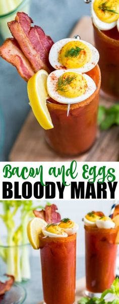 Inspired by all the crazy ideas I've seen over the years, my Bacon and Eggs Bloody Mary combines homemade bloody mary mix, crispy bacon, and deviled eggs. This brunch superstar is now a completely breakfast!