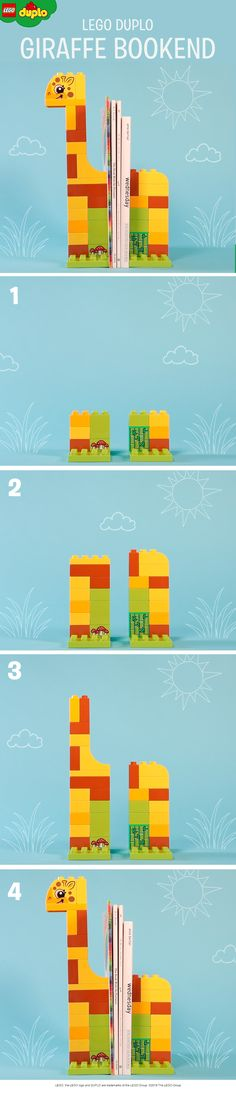 LEGO DUPLO giraffe bookends like these are great for an animal obsessed pre-school child's bedroom. Build them like this using the LEGO DUPLO bricks you have at home.