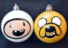 """""""O mundo de Jake e seu amigo Finn..."""". É só ter um pouco de habilidade com tinta, que os dois amigos podem enfeitar sua árvore de Natal também."""