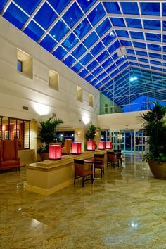 The beautiful skylights are an important feature of our lobby.    Doug: Of all places, the BAKERSFIELD Marriott. Still, it is not a feature unless it is noticeable. Must be hellish in the scenic Bakersfield summers...
