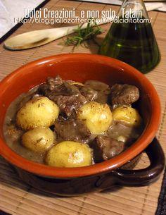 Spezzatino con patate cotto nella pentola a pressione