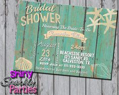 Printable BEACH BRIDAL SHOWER Invitation  by ShinySparklyParties