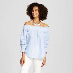 Women's Stripe Embroidered Off the Shoulder Top Light Blue M - Blu Pepper (Juniors')