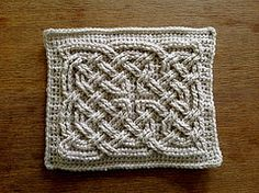 """This is a crocheted Celtic knot """"square"""" inspired by the paintings in the Book of Kells. It uses relief stitches, similar to front post stitches, to create a knot-work pattern raised above a background of single crochet."""