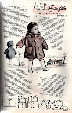 PAR AMOUR DES POUPEES :: M&T 1955-01 Duffle-coat pour Françoise (couture)