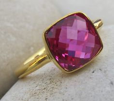 Fuschia Pink Quartz Ring Rose Gold Ring Pink Quartz by Belesas, $62.99