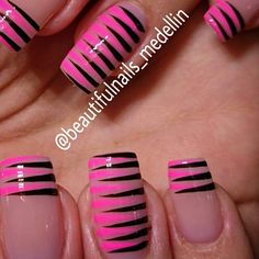 Fails design spring french valentines day Ideas for 2019 Pink Black Nails, Aqua Nails, Black French Nails, Black Nail Designs, Beautiful Nail Designs, Cute Nails, Pretty Nails, Acrylic Nails, Gel Nails