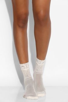 Open Crochet Floral Crew Sock - Urban Outfitters