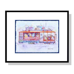 Cat Club Cable Car Company - Framed Original Cat Art by Claudia Sanchez Cat Art, Original Artwork, Cable, Club, The Originals, Frame, Things To Sell, Electrical Cable, Frames