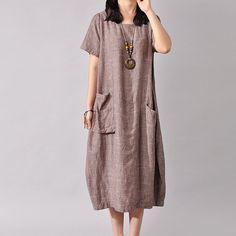 Women Cotton Linen Dress Loose Dress Summer Dress Short Sleeve Dress L – Buykud