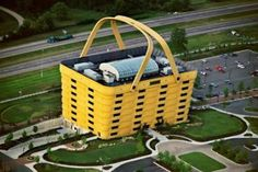 This seven story yellow basket building are the headquarters of Longaberger Basket Company.