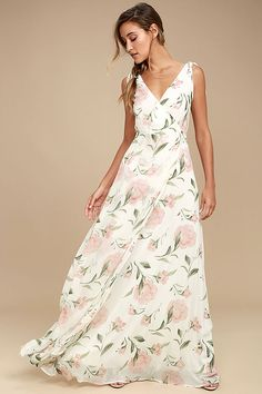 d7a16752a5 Take a twirl in the Romantic Possibilities White Floral Print Maxi Dress and