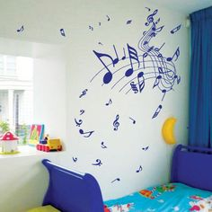 Music Note Children Nursery Car Art Wall Stickers / Wall Decals / Wall Mural from AmazingSticker Star Nursery, Nursery Wall Art, Music Nursery, Painted Pianos, Music Decor, Music Wall, Vinyl Wall Stickers, Music Notes, Decoration
