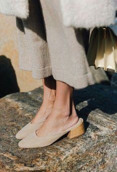 Sone suede mule slippers and boiled wool coat. Perfect for a sunny winters day.