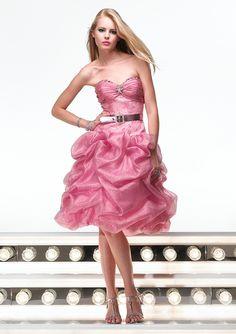 Strone Pin Sweetheart Neckline Ruffle Beads Working Tie Waist Keen Length Prom Dress