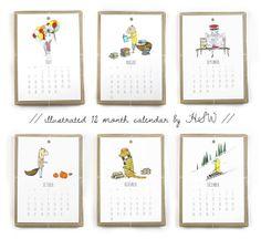 2014 Calendar Jaunty Animals by hellosmallworld on Etsy