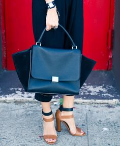 Celine trapeze and Zara strap sandals