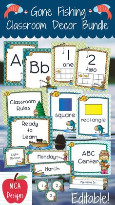 Check out my Gone Fishing Classroom Décor Ultimate bundle features all you need to have a fresh new look for your classroom this fall! Check out the preview for a quick look at this colorful theme. My Gone Fishing Classroom Décor Bundle features my ENTIRE Gone Fishing collection including several editable features! #teacherspayteachers #tpt #backtoschool #classroommanagement Classroom Décor, 5th Grade Classroom, Classroom Posters, Classroom Organization, Classroom Management, Class Management, School Resources, Teaching Resources, Teaching Ideas