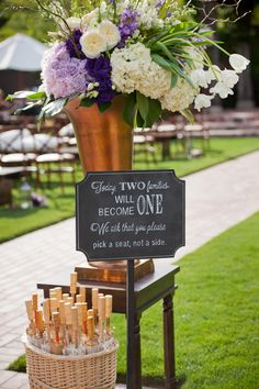 purple and gold wedding ideas  http://www.weddingchicks.com/2013/11/12/wine-country-wedding/
