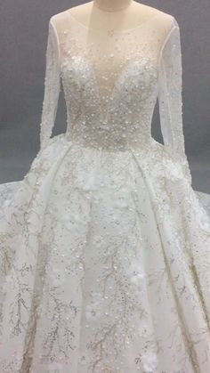 Glittery Floral Bridal Gowns, See Through Neck Long Sleeves Ball Gown Wedding Dresses, Gorgeous Wedding Dresses, Glamorous Wedding Dress, dresses ball gown videos Luxury Wedding Dress Amazing Wedding Dress, Luxury Wedding Dress, Sexy Wedding Dresses, Bridal Dresses, Gown Wedding, Glamorous Wedding, Reception Dresses, Lace Wedding, Lace Ball Gowns