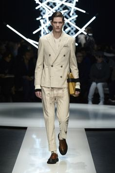 Wool bouclé striped suit, cashmere and silk T-shirt, angora scarf; calfskin Oxfords with contrasting details #CanaliFW15 #FW15 #moda #menswear