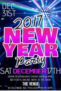 new years party flyer design template blue