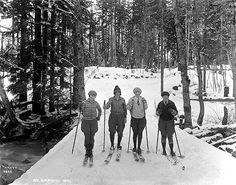 Four women skiing at Scenic, Washington by UW Digital Collections, via Flickr