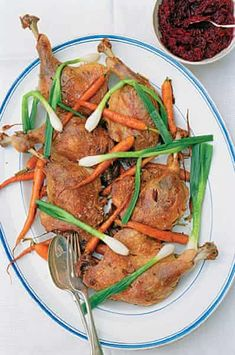 Confit duck legs with carrots, spring onions & beetroot relish Duck Leg Recipes, Confit Duck Leg, Duck Pate, Beetroot Relish, Duck Soup, Date Night Recipes, Relish Recipes, Peking Duck, Roast Duck
