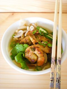 Pho with grilled shrimp