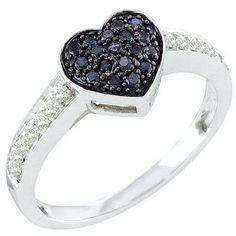 Thanks for Sharing!  0.34 Carat (ctw) 10k White Gold Round Black & White Diamond Ladies Promise Heart Engagement Ring - Dazzling Rock #https://www.pinterest.com/dazzlingrock/