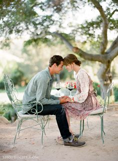 great way to capture a couple, also I know want that bistro set ... and a really big glass of red ...