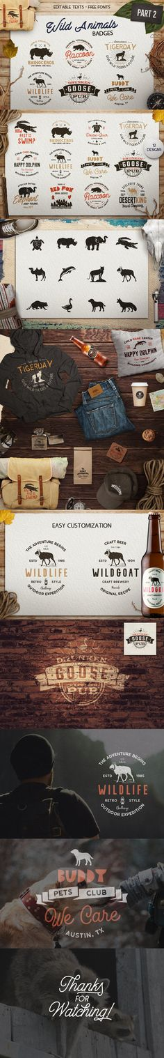 12 Wild Animals Badges Part 2 Travel Retro Logos Template Adobe Photoshop