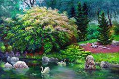Cisnes en el estanque