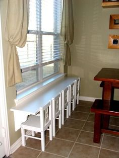 Kids table - 6 foot shelf from Home Depot, shelf braces and chair from Ikea..