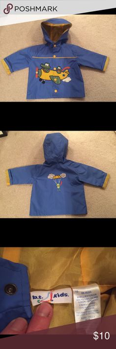 Super cute 6/9 mo plane rain jacket This is super cute for your little one! Has front snaps for closure. Used once, like new! b. t kids Jackets & Coats Raincoats