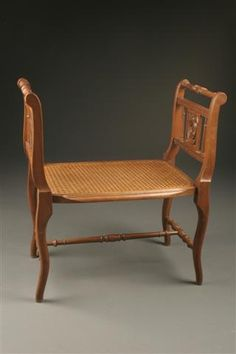 bench with arms. French 19th Century Louis XVI Bench With Cane Seal, Circa 1895. #antique # Arms
