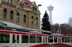 MORNING COMMUTE THRU TIME © Trever Miller C-Train transit station at Calgary City Hall. The Calgary Tower is in the foggy distance. The Province, Calgary, Distance, Quilting, Tower, Street View, Canada, Train, Vacation