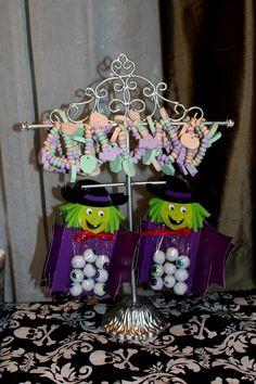 Witch with eyeball chocolates and cnady bracelets