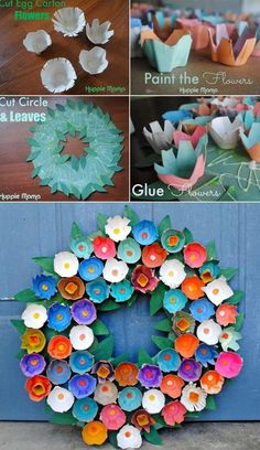 Recycle an Egg Carton to Make This Unique Wreath #easterdecoration #diyeaster