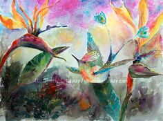 Hummingbird and Birds of Paradise Flowers Watercolor Original , Watercolor - Ginette Fine Art, The Art of Ginette Callaway  - 5
