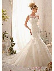 Vestido de Noiva Sereia Borda Ondulada Comprido ( Tule )