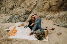 All the adventures of the day, now it's time for a romantic beach picnic. Big Sur elopement Pebble Beach California, Big Sur California, California Coast, California Wedding, Ranch Hotel, Wild Forest, Wedding Week, Romantic Beach, Beach Elopement