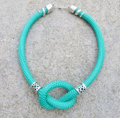 Cord Necklace green necklace climbing cord by MarciaHDesigns