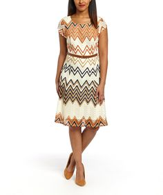 Look at this Sharagano Ivory & Navy Zigzag Belted Cap-Sleeve Dress on #zulily today!