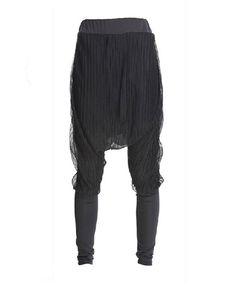 Black Mesh Mixed Cotton Harem Pants