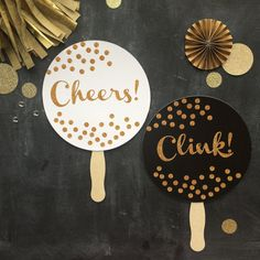 Cheers and Clink - Black, White and Gold Glitter Photo Booth Prop.